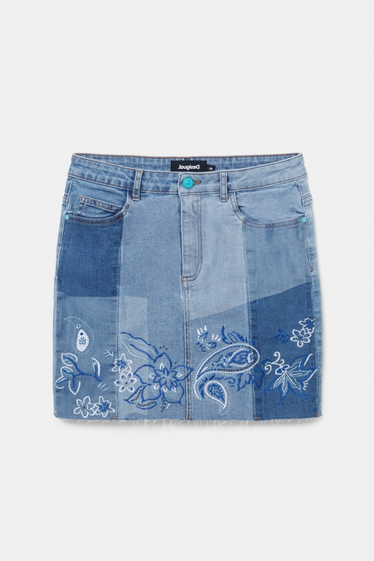 FUSTA DENIM MINI, CU BRODERIE