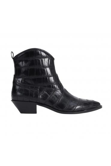 Flat Heel Ankle Boots COWBOY CROCO Black