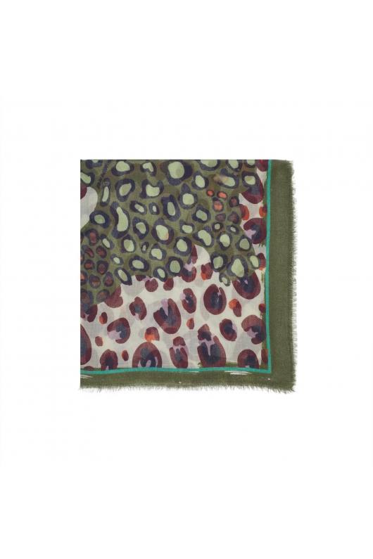 Printed Scarf BLURRY LINES Khaki M