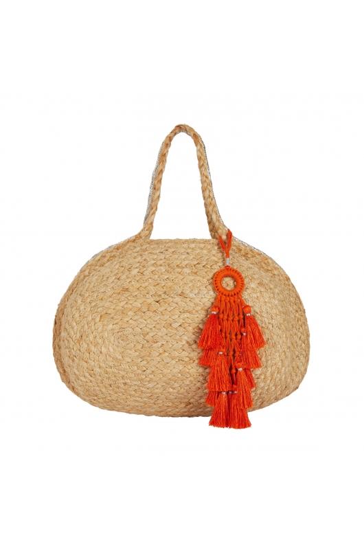 Tote Bag Jute & Stripes Module Straw M