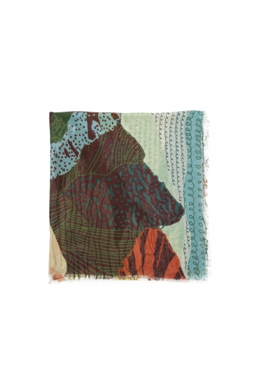 Printed Scarf BLURRY LINES Green M