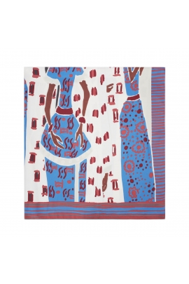 Square Scarf LATERAL SQUARES Blue M