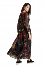 WOMAN WOVEN DRESS LONG SLEEVE