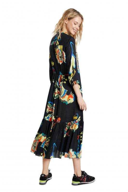 WOMAN WOVEN DRESS 3/4 SLEEVE
