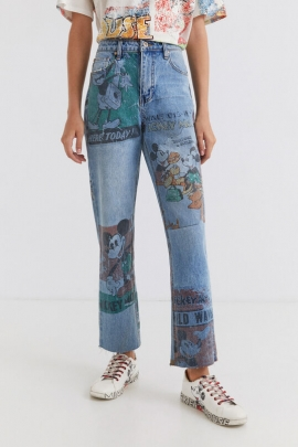 Straight cropped Mickey Mouse jeans