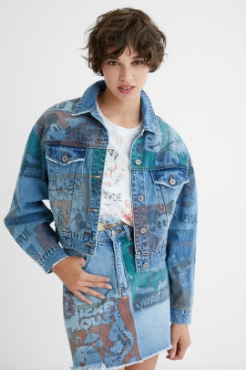 Oversize denim jacket Mickey Mouse