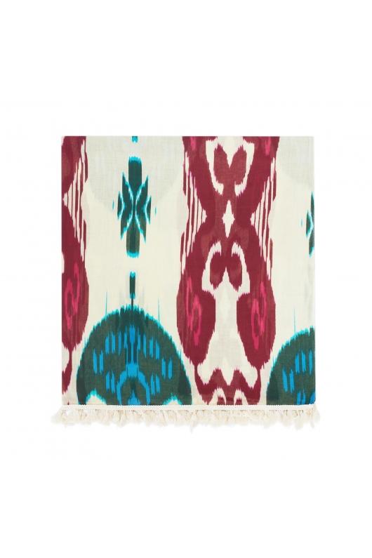Printed Scarf Ikat Pinkgreen White M