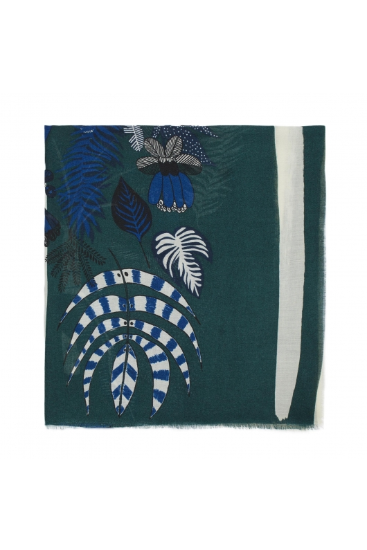 Printed Scarf SUNFLOWERS Teal L