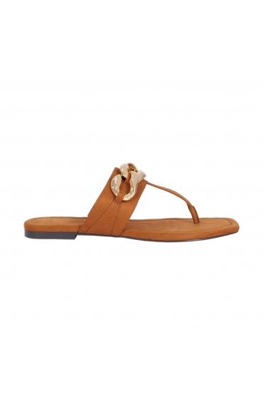 Flat Heel Sandals BIG CHAIN Camel