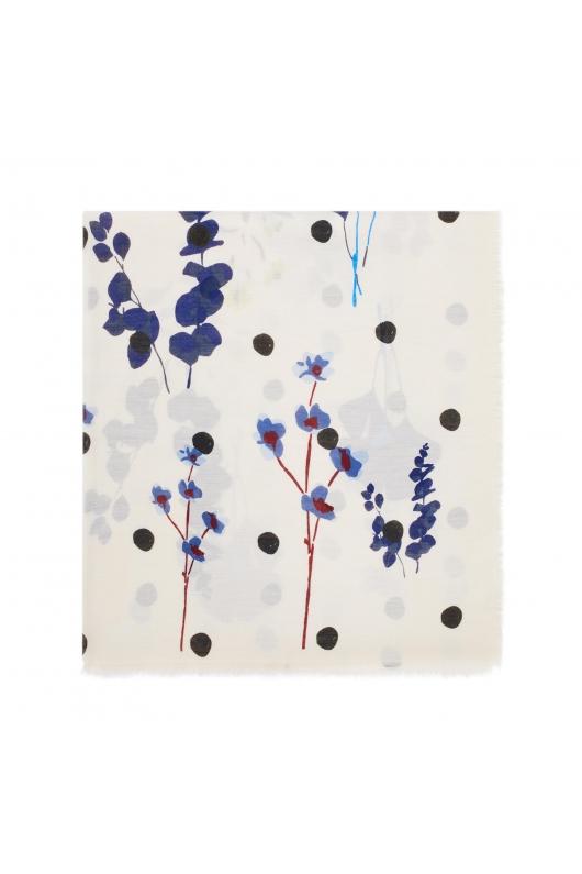 Printed Scarf FLOWERPOT Blue M
