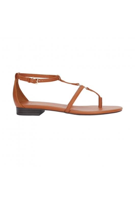 Flat Heel Sandals STRIPS W METAL BUCKLE Camel