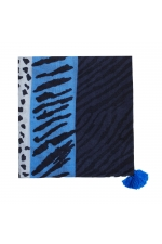 Printed Scarf PANEL Blue M