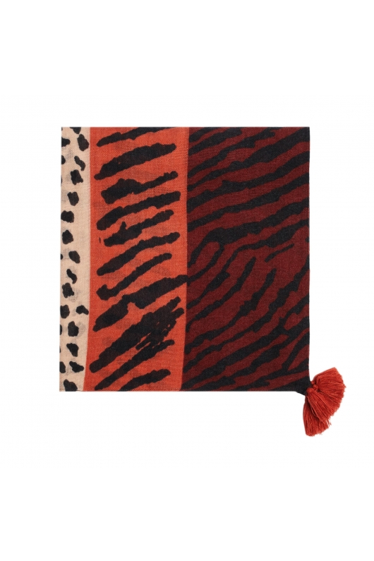 Printed Scarf PANEL Brick Red M