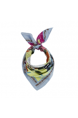 Printed Scarf LATERAL SQUARES Blue S