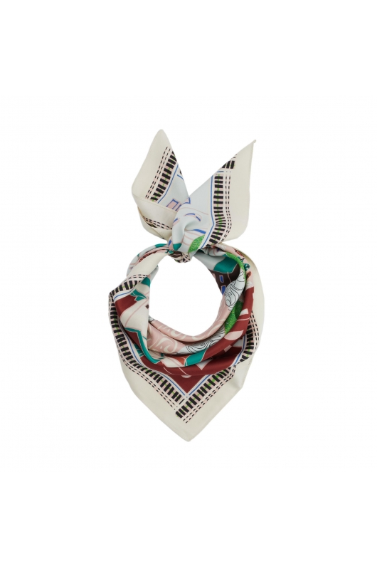 Printed Scarf LATERAL SQUARES Midnight Blue S