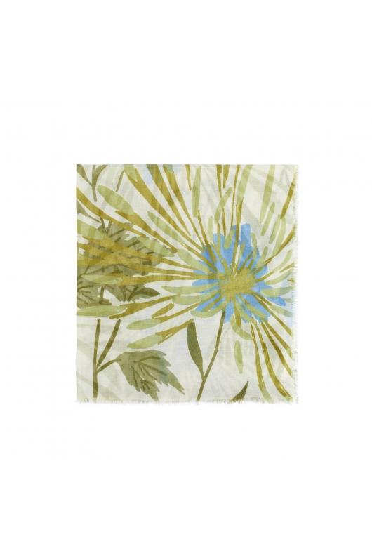 Printed Scarf BIG FLOWERS Ecru M
