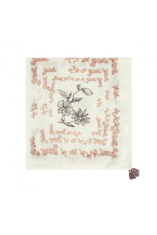 Printed Scarf FALLING FLOWERS Ecru M