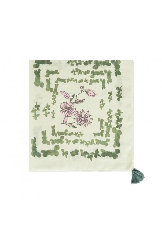 ESARFA CU PRINT FALLING FLOWERS Green M
